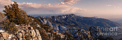Panorama Of Sandia And Manzano Mountains From The Tramway Terminal - Albuquerque New Mexico Print by Silvio Ligutti