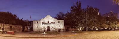 Panorama Of The Alamo At Dawn - San Antonio Texas Print by Silvio Ligutti