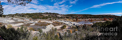 Panorama Of The Mighty Pedernales River In The Fall Season - Johnson City Texas Hill Country Print by Silvio Ligutti