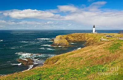 Yaquina Head Lighthouse Photograph - Panorama Of Yaquina Lighthouse On The Oregon Coast. by Jamie Pham