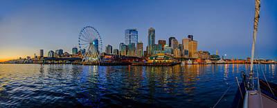 Beautiful Photograph - Panorama Seattle Ferris Wheel Skyline by Scott Campbell