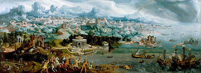 Wonders Of The World Painting - Panorama With The Abduction Of Helen Amidst The Wonders Of The Ancient World by Maerten van Heemskerck