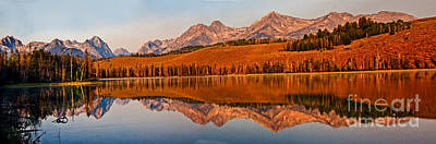 Haybales Photograph - Panoramic Of Little Redfish Lake by Robert Bales