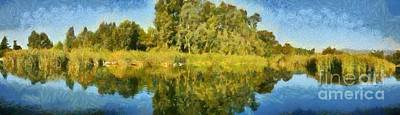 Panoramic Painting Of Ducks Lake Print by George Atsametakis