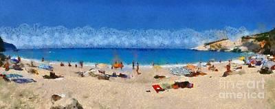 Greece Painting - Panoramic Painting Of Porto Katsiki Beach by George Atsametakis