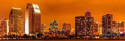 Panoramic Picture Of San Diego Skyline At Night Print by Paul Velgos