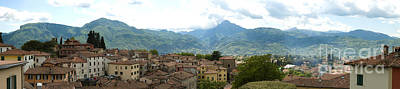 Hill Town Photograph - Panoramic View Barga And Apennines Italy by Peter Noyce
