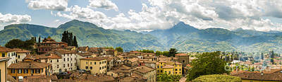 Hill Town Photograph - Panoramic View From Barga In Italy Of The Appeninies by Peter Noyce