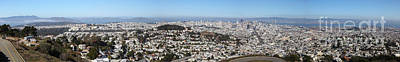 Birdseye Photograph - Panoramic View From San Francisco California Twin Peaks 20140223 by Wingsdomain Art and Photography