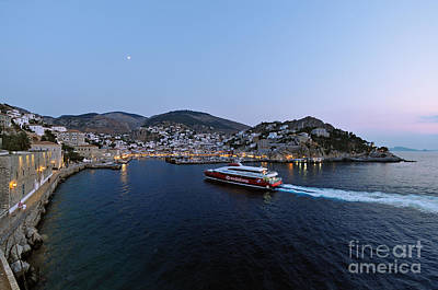 Blue Photograph - Panoramic View Of Hydra Port by George Atsametakis