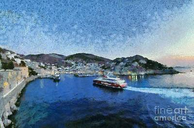 Light Painting - Panoramic View Of Hydra Town by George Atsametakis