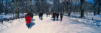 Panoramic View Of Pedestrians Walking Print by Panoramic Images