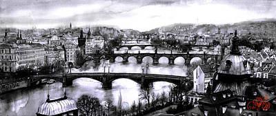 Vltava River Digital Art - Panoramic View To Prague by Dmitry Koptevskiy