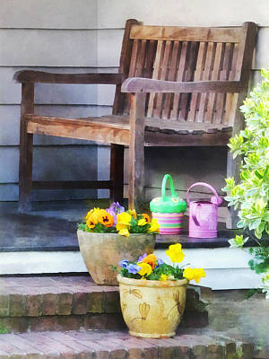 Water Photograph - Pansies And Watering Cans On Steps by Susan Savad
