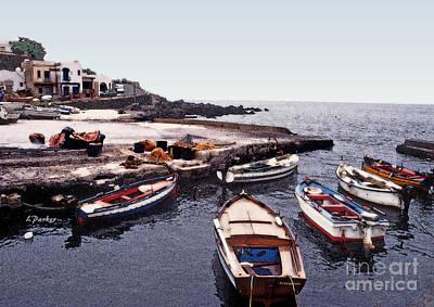 Sicily Digital Art - Pantelleria Boats by Linda  Parker
