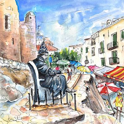 Old Street Drawing - Papa Luna In Peniscola by Miki De Goodaboom
