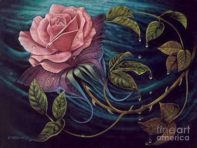 Gold Leaf Painting - Papalotl Rosalis by Ricardo Chavez-Mendez