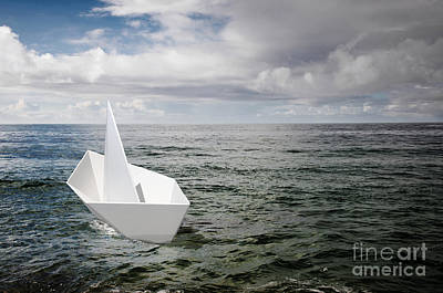 Drift Boat Photograph - Paper Boat by Carlos Caetano