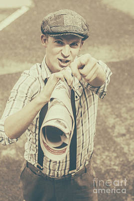Loud Photograph - Paper Boy Yelling Out Breaking News Headlines by Jorgo Photography - Wall Art Gallery