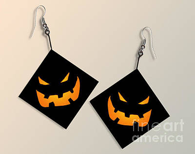 Paper Halloween Pumpkin Earrings Original by Melissa A Benson
