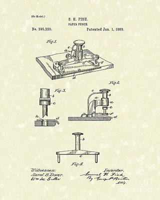 Paper Punch 1889 Patent Art Print by Prior Art Design