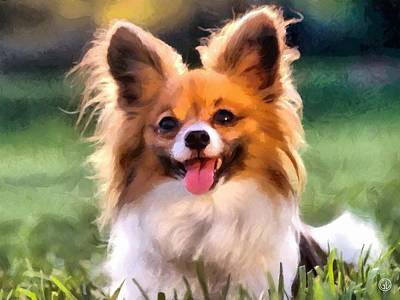 Puppy Digital Art - Papillon by Gun Legler