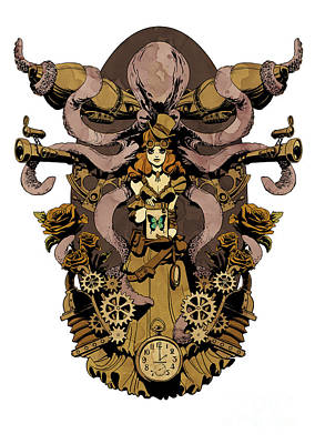 Octopus Digital Art - Papillon Mecaniques by Brian Kesinger
