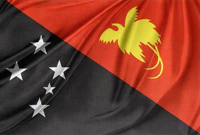Papua New Guinea Photograph - Papua New Guinea Flag by Les Cunliffe