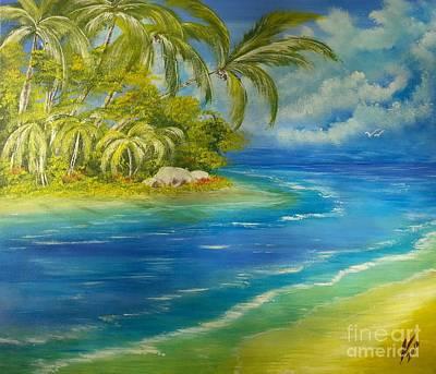 Jamaican Art Painting - Paradise Beach by Collin A Clarke