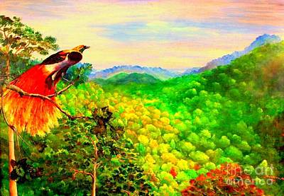 Aloe Painting - Paradise Bird Of Papua by Jason Sentuf