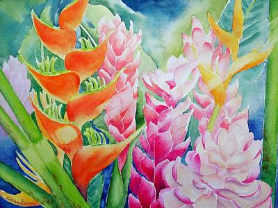 Heliconia Painting - Paradise Bouquet by Kathleen Rutten