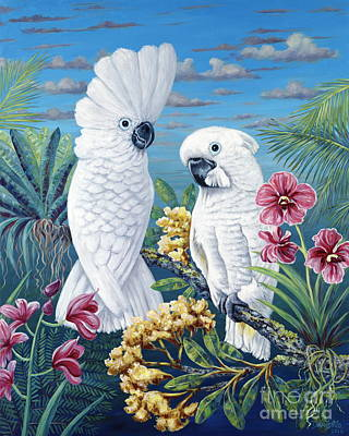 Cockatoo Painting - Paradise For Too by Danielle  Perry