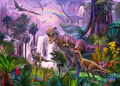 T-rex Digital Art - Paradise by Jan Patrik Krasny