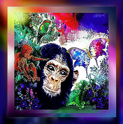 Chimpanzee Mixed Media - Paradise Lost by Hartmut Jager