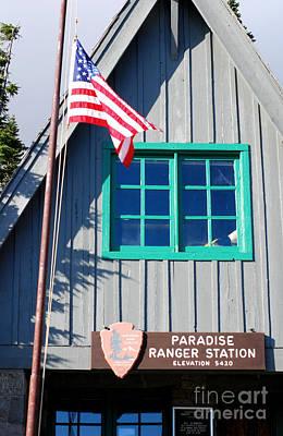 Paradise Ranger Station. Mt. Rainier National Park Print by Connie Fox