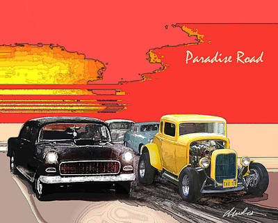 1955 Movies Digital Art - Paradise Road by Barry Cleveland