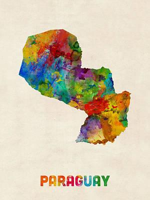 Latin America Digital Art - Paraguay Watercolor Map by Michael Tompsett