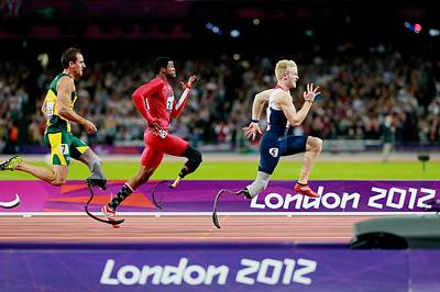 Disabled Sports Photograph - Paralympic Sprinters, London 2012 by Science Photo Library