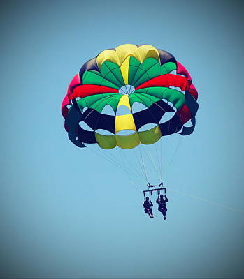 People Photograph - Parasailing At Roanoke 3 by Cathy Lindsey