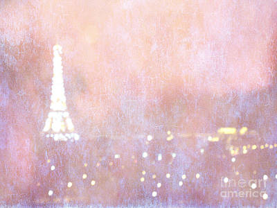 Surreal Paris Decor Photograph - Paris Abstract Eiffel Tower Art - Dreamy Surreal Paris Pink Eiffel Tower Abstract Bokeh Lights by Kathy Fornal