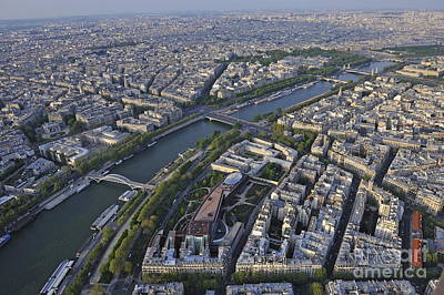 Paris And The Seine River Print by Sami Sarkis