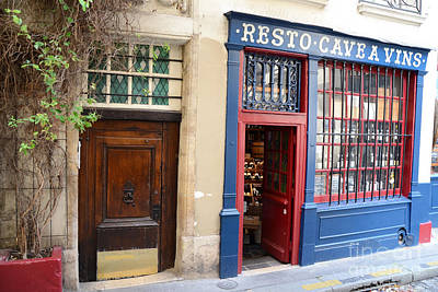 Paris Architecture Brown Door And Wine Shop - Paris Resto Cave A Vins Street Shoppe  Print by Kathy Fornal