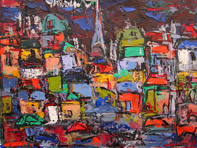 Rooftops Painting - Paris At Night 03 by Len Yurovsky
