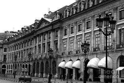 Paris Black And White Photography - Place Vendome Hotel Chaumet Architecture Street Lanterns Print by Kathy Fornal