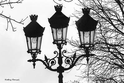 Black And White Paris Photograph - Paris Street Lanterns Lamps - Surreal Black And White Paris Street Lamps Architecture Art by Kathy Fornal