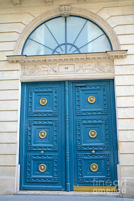 Paris Blue Door - Blue Aqua Romantic Doors Of Paris  - Parisian Doors And Architecture  Print by Kathy Fornal