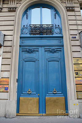 French Door Photograph - Paris Blue Doors - Paris Romantic Blue Doors - Paris Dreamy Blue Door Art - Parisian Blue Doors Art  by Kathy Fornal
