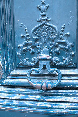 French Door Photograph - Paris Blue Vintage Door - Paris Antique Vintage Blue Door Knocker - Paris Door Architecture by Kathy Fornal