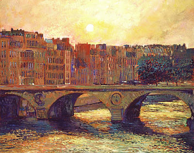 Historic Buildings Painting - Paris Bridge Over The Seine by David Lloyd Glover