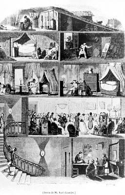 Upper Classes Painting - Paris Building, 1847 by Granger